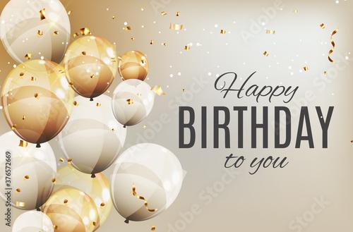 Cuadros en Lienzo Color Glossy Happy Birthday Balloons Banner Background Vector Illustration