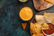 Snacks And Chips With Dip, Salsa, Ketchup And Sauces, Top View, Snack For Beer Or Big Parties