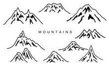 手描きの山のイラスト...