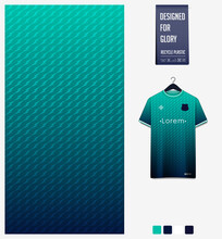 Fabric Textile Design In Green Gradient Thunder Shape Pattern For Soccer Jersey, Football Kit, Baseball Uniform Or Sports Shirt. T-shirt Mockup Template. Abstract Background. Vector.