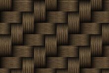 Brown Basket Weave Seamless Background. Classic Cross Woven Texture Decorative Pattern. Natural Wicker Bamboo Effect