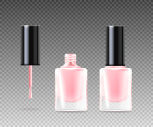 Vector Realistic Isolated Illustration Of Fashionable Pink Nail Polish In Bottle
