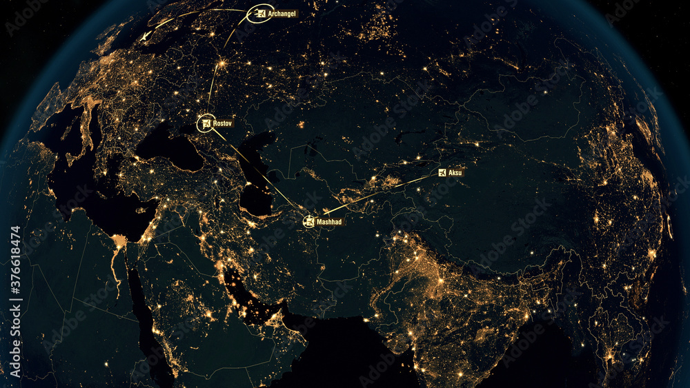Fototapeta Flight Paths in Asia. World Airplane Flight Travel Plans. Global Flight Connections. City Lights and Names. 3D Illustration.