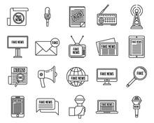 Modern Fake News Icons Set. Ou...