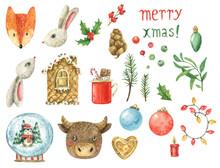 Watercolor Set On A Christmas ...