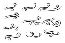 Hand Drawn Air Wind Doodle Blo...