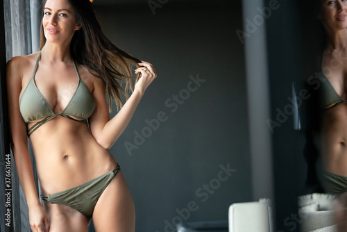 Portrait of a beautiful woman in sexy lingerie posing