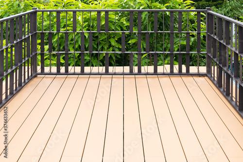 Fototapeta Old exterior wooden decking or flooring on the terrace.