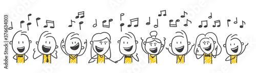 Strichfiguren / Strichmännchen: Singen, Musik, Chor. (Nr. 548) Billede på lærred