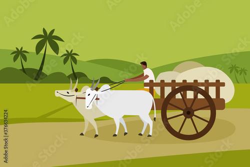 Fotografia A villager transports goods in a bullock cart in rural India