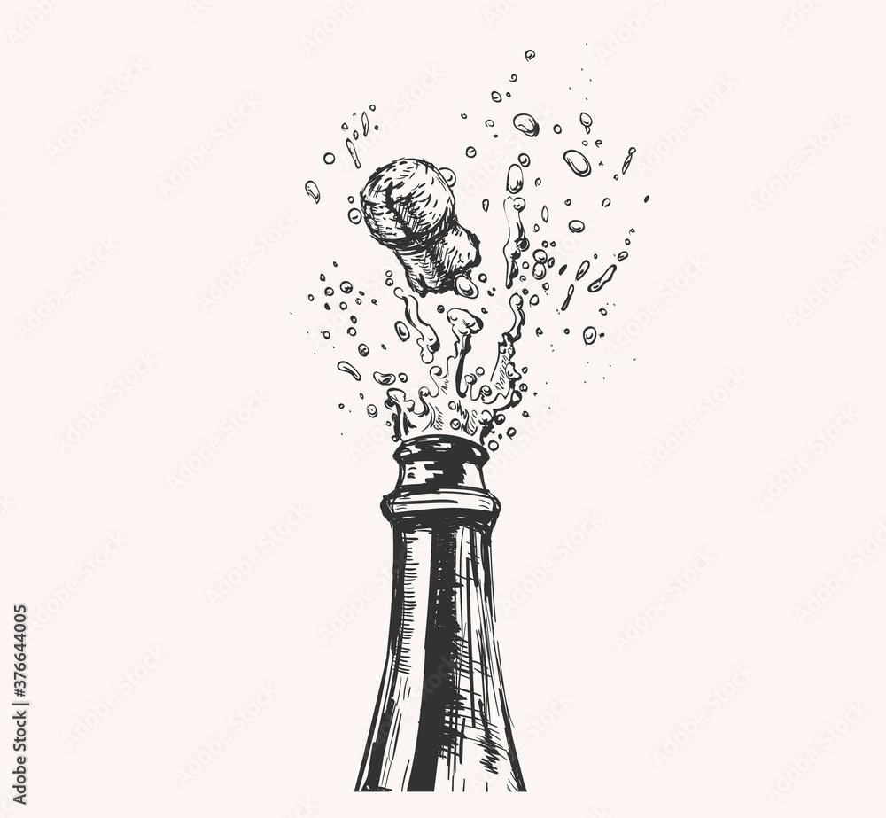 Fototapeta Hand drawn Illustration of Champagne explosion. Hand drawn Illustration of Champagne explosion.