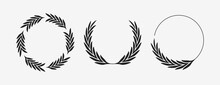 Set Of Laurel Wreath Circle Borders. Decorative Vector Elements.