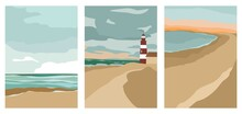 Set Of Vertical Posters On The Sea Theme In A Trending Flat Style. Landscapes Of The Sea And The Sandy Coast Carved With Simple Shapes. Backgrounds With Abstract Spots And Figures. Vector Illustration
