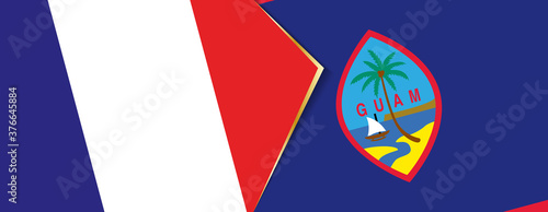 France and Guam flags, two vector flags. Fototapet