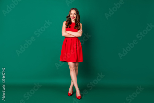 Full length body size view of her she nice-looking attractive lovable fashionabl Canvas Print