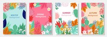 Vector Set Four Seasons, Winter, Spring, Summer, Autumn, Flowers And Leaf Design Template, Banner, Cover, Templates, Postcard.