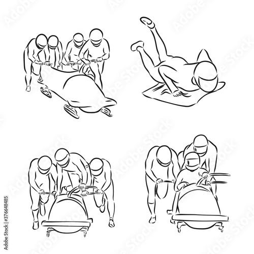 Foto hand sketch bobsleigh, bobsleigh sports, vector sketch illustration