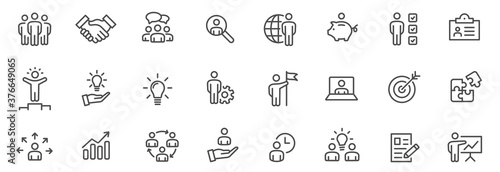 Business people line icons set. Team work. Outline icons collection - stock vector.