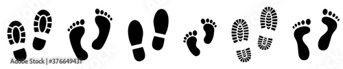 Photo Set different human footprints. Baby footprint - stock vector.