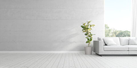 3d render of living room with sofa and vase of plant on wooden floor and concrete wall.