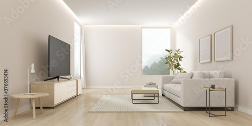 Fototapeta 3D rendering of modern living room with TV screen and sofa on nature background.	  obraz