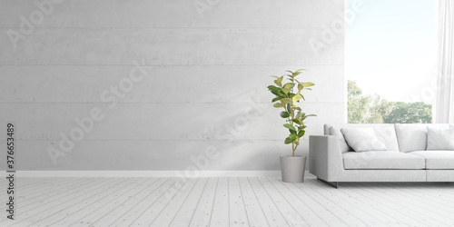 Fototapeta 3d render of living room with sofa and vase of plant on wooden floor and concrete wall. obraz
