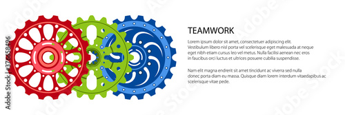 Foto Set of colorful gear wheels or cogs, technology and industry banner, teamwork co