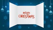 Advent Calendar Window. Christmas Present Open Doors, December Xmas Gift Template. New Year Festive Paper Invitation Card Mockup. Blue Winter Decoration Vector Illustration. Christmas Present Holiday