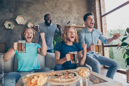 Portrait of four people excited guys meeting sit home couch watch world final cu Fototapet