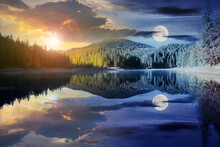 Day And Night Time Change Concept Above Mountain Lake Among The Forest. Trees In Colorful Foliage. Beautiful Landscape In Autumn. Clouds And Sky With Sun And Moon Reflecting In The Water