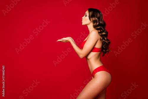 Fototapeta Profile photo of seductive perfect beauty lady gentle shapes sending arms air ki