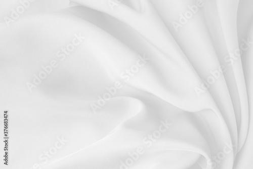 Slika na platnu White cloth background abstract with soft waves.
