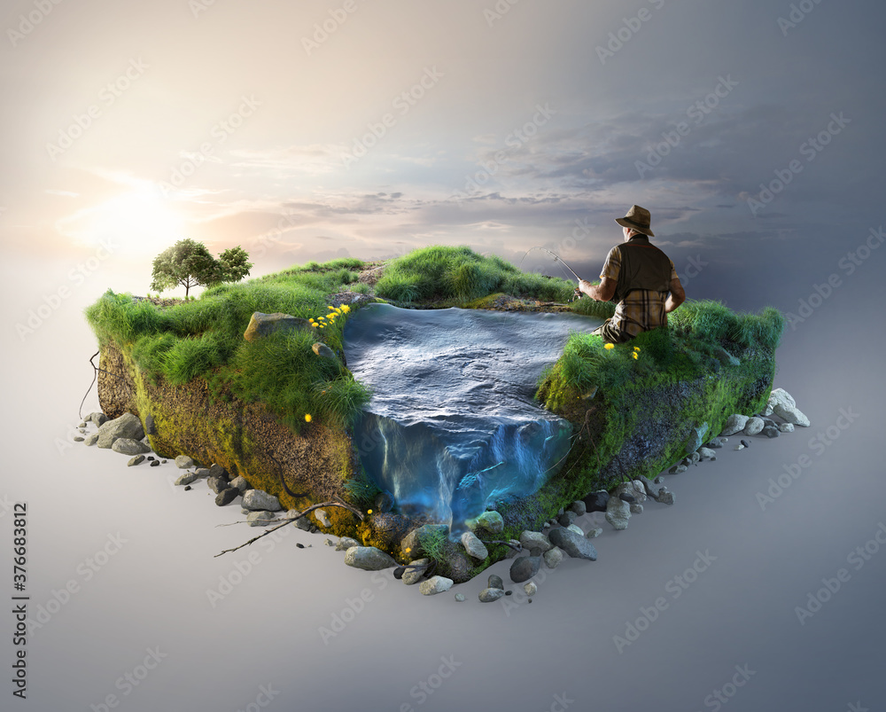 Fototapeta Travel and fishing background. 3d illustration with cut of the ground and the grass landscape with the cut of the pond.