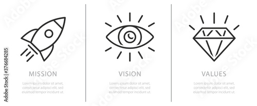 Fotografija Simple flat icon for visualisation of Mission, Vision and Values of company