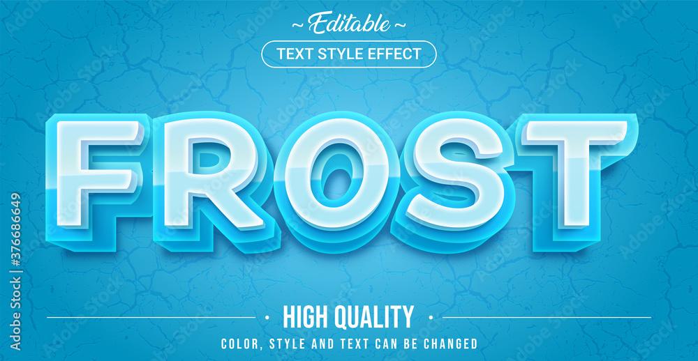 Fototapeta Editable text style effect - Frost theme style.