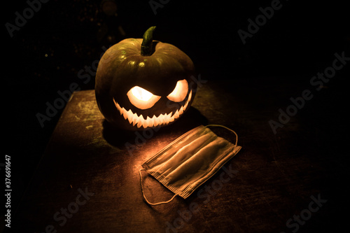 Obraz na plátně Halloween during Corona virus global pandemic concept