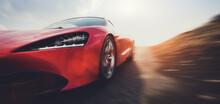Fast Sports Car On Road In Mot...