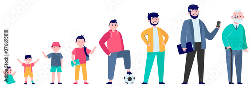 Foto Cartoon man in different age flat vector illustration