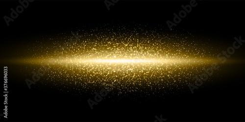 Obraz na plátně Gold light flash, glitter dust particles burst background, Vector golden shimmer