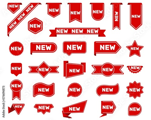 Photo New arrival tags and stickers set