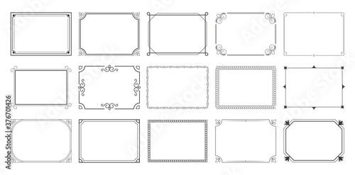 Fototapeta Rectangular calligraphic frames set obraz