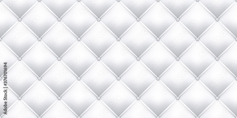 Fototapeta White leather upholstery texture pattern background. Vector seamless vintage royal sofa leather upholstery with buttons pattern