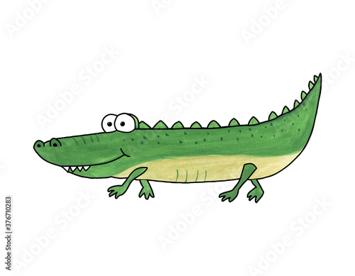 Foto Hand-drawn watercolor illustration of a cartoon crocodile on a white background