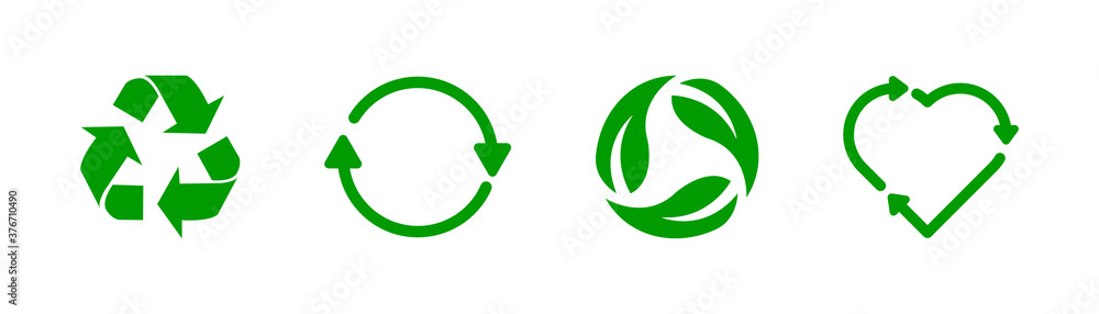 Fototapeta Recycle icon collection. Vector stock recycling sign.