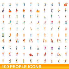100 People Icons Set. Cartoon ...