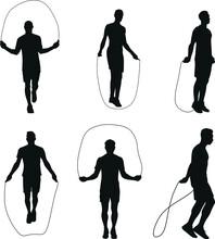 Man Playing Skipping Rope Silhouette Set