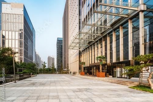Fototapety, obrazy: City square and modern high-rise buildings, Jinan CBD, China.