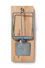 Overhead View Of Mouse Trap On White Background