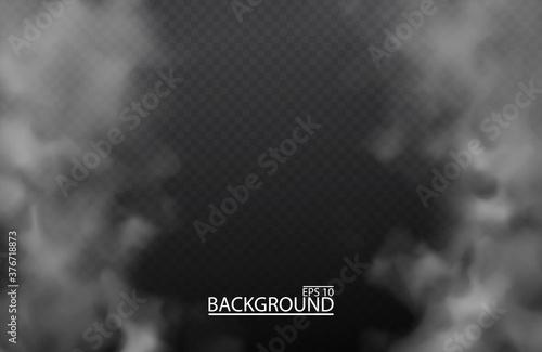 White fog or smoke on isolated transparent background Canvas