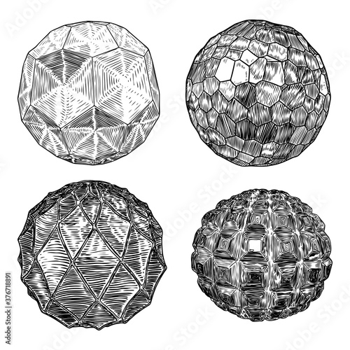 Set of decorative balls in hand drawn style Canvas-taulu